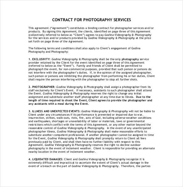 Contract for Photography Service , 20+ Photography Contract Template , Photography contract template is very helpful to be used as legal document between two parties, client and photographer. As a pro, the basic terms at least should be mastered.