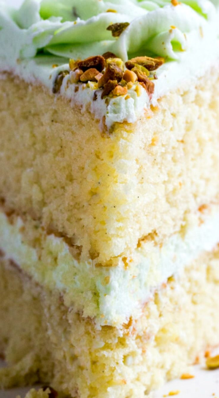 Vanilla Bean Pistachio Cake ~ Light, airy and full of flavor... A fun and tasty flavor combination perfect for absolutely any occasion.