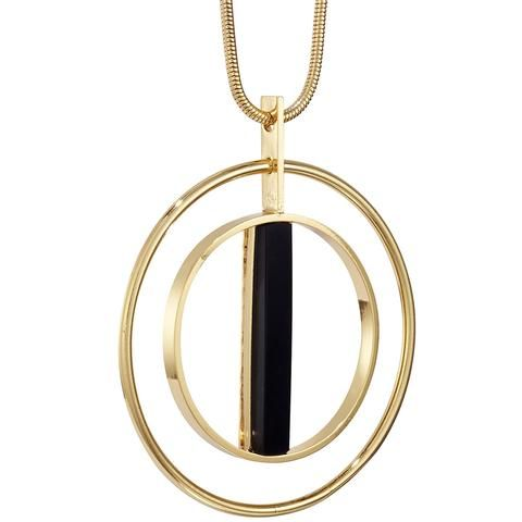 Lennox Pendant by Jenny Bird in High Polish Gold with Black Resin Stone