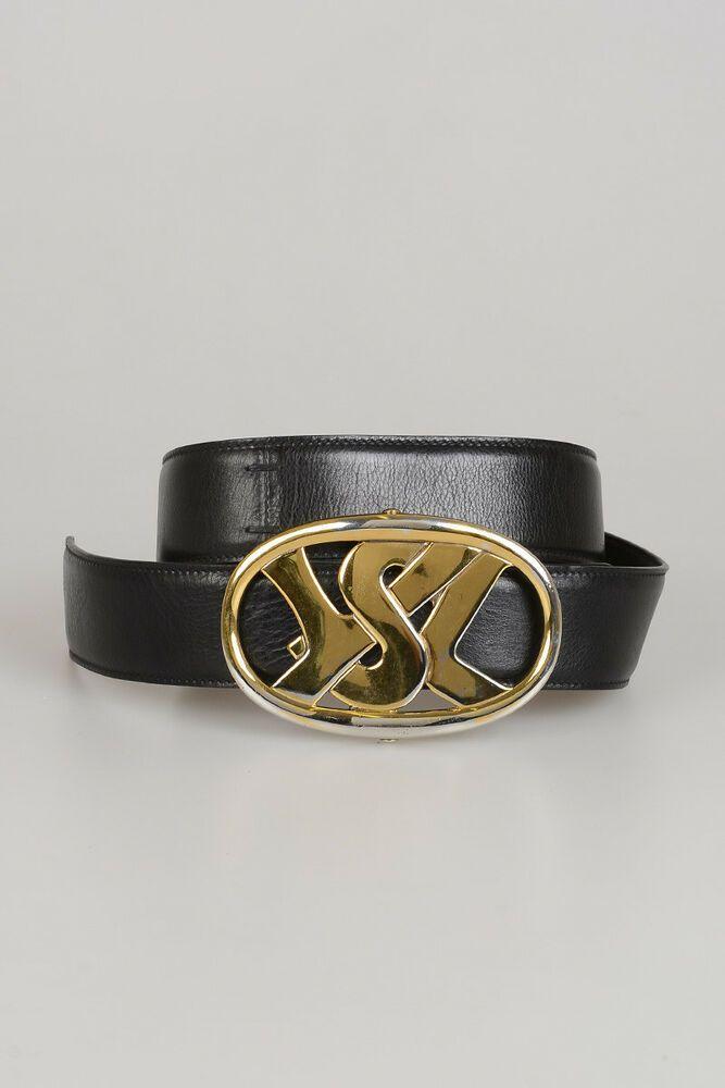 e53c68b93e4 YVES SAINT LAURENT YSL New Woman Black Leather Wide Buckle Belt Sz ...