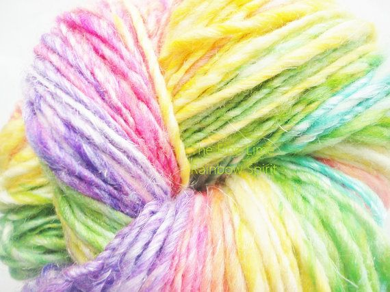Merino Sparkle Handspun Self Striping Yarn  Rainbow by thefinelime, $28.00