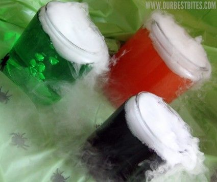 Mad Scientist Potion Drinks For Kids Party    Large glass jars or beverage containers  Brightly colored drink of your choice  Dry Ice (1 pound per gallon of potion)  Heavy-duty gloves and/or an oven mitt and tongs    Prepare drinks if necessary in the beverage jars. Otherwise, pour the drinks into the jars.    Carefully break up the dry ice with a