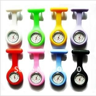 Nieuwe siliconen Nurse Quartz Broche Tuniek Fob Watch, slicone fob horloge, siliconen verpleegster fob horloge, hanger gemengd horloge 100pcs/lot