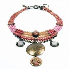 Statement ketting vintage roze brons rozenkwarts Catena Sieraden
