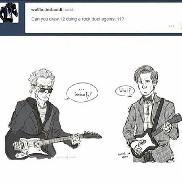 He doesnt even have a real guitar xD #doctorwho #mattsmith #petercapaldi