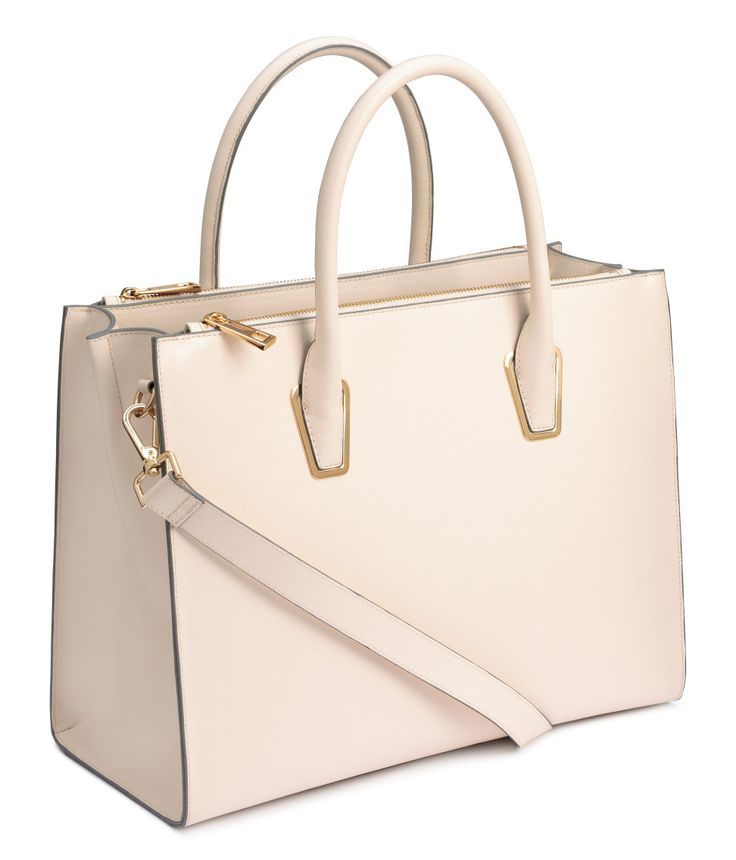 Handbag in thick, grained imitation leather with two handles and a detachable shoulder strap at top.| H&M Accessories