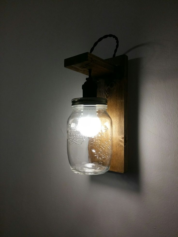 light in a suspended maison jar