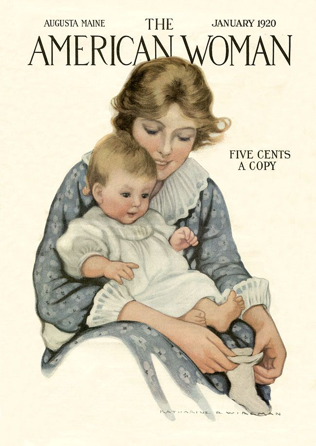 American Woman magazine cover, 1920. #vintage #family_life #mother