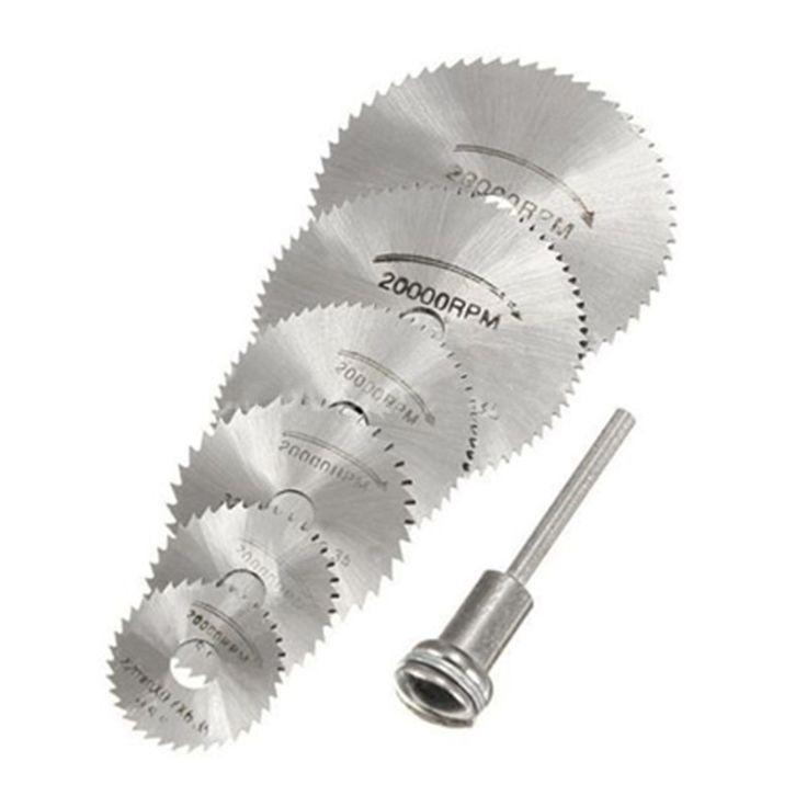 7 PCS HSS Rotary Alat 22/25/32/35/44/50mm Melingkar Melihat Pisau Cutting Discs Mandrel untuk Dremel Cut off