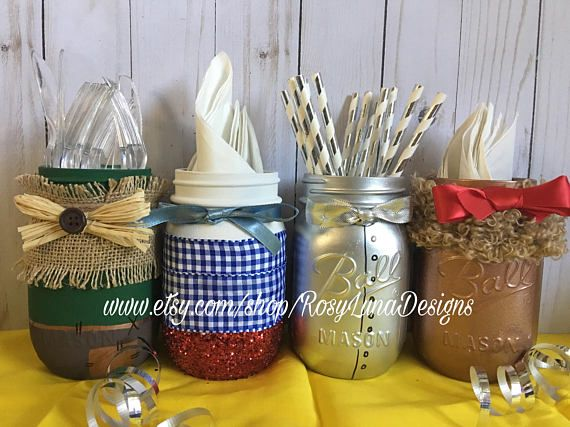 Fun fact...Did you know the original Dorothy had silver slippers? To see an alternate version of Dorothy please visit https://www.etsy.com/listing/509915234/the-wonderful-wizard-of-oz-inspired This set includes all four character jars, Dorothy, the Scarecrow, the Tin Woodman and the Cowardly Lion. All of the jars are pint sized and made to order. The perfect centerpiece for birthday parties and they display lovely in any room of the house. Great as a gift too. Having...