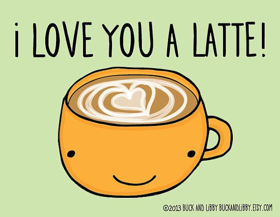 I Love You a Latte Frameable Illustration Print by by BuckAndLibby, $10.00