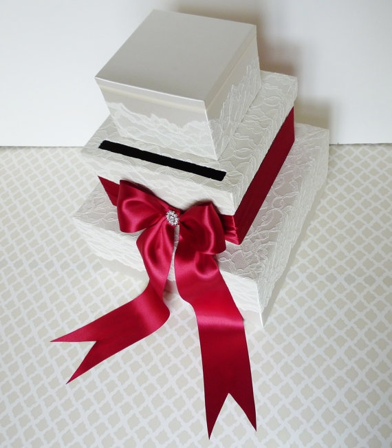 love the lace on top of the regular fabric. would like a bow without tails though.: Gift Boxes, Cards Boxes, Card Boxes