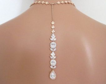 Gold Back Necklace CZ Diamond Lariat Wedding Necklace by MinimalVS
