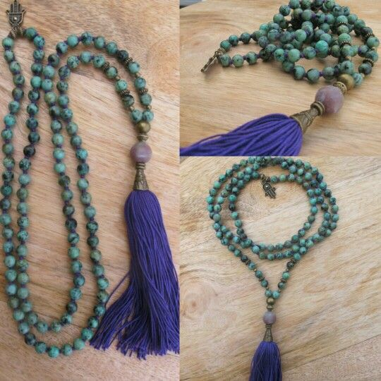 African Turquoise with purple tassel and Hamsa in the neck. Malabead necklace.