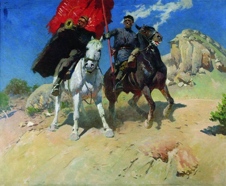 TRUMPETER & STANDARD-BEARER by Mitrophan Grekov