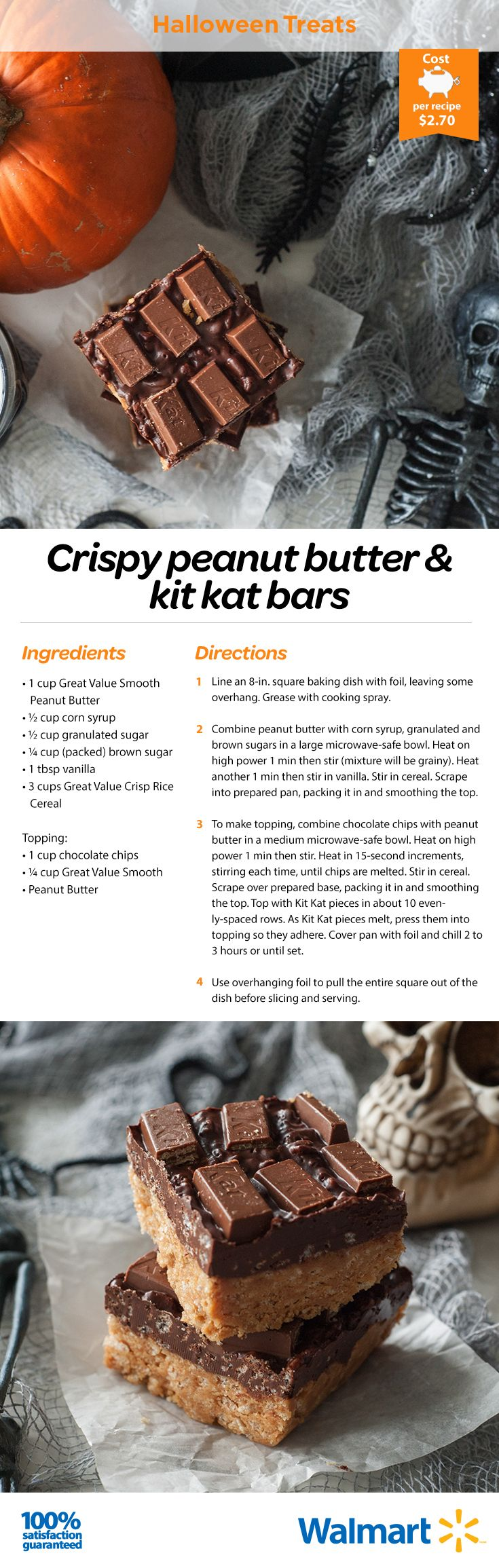 We have the Kit Kats in-store, you have the imagination at home. Whip up these Reese's Chocolate Kit Kat bars for #Halloween this year!  #Halloweendesserts #halloween2016 #trickortreat #chocolatebars #baking