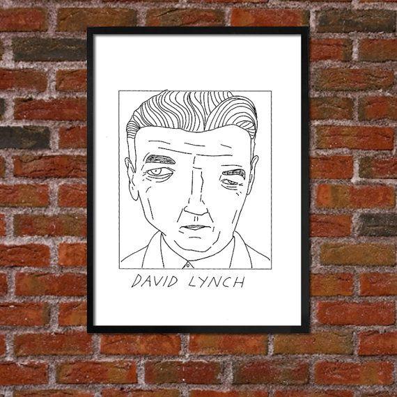 Badly Drawn David Lynch Poster by BadlyDrawnCelebs on Etsy