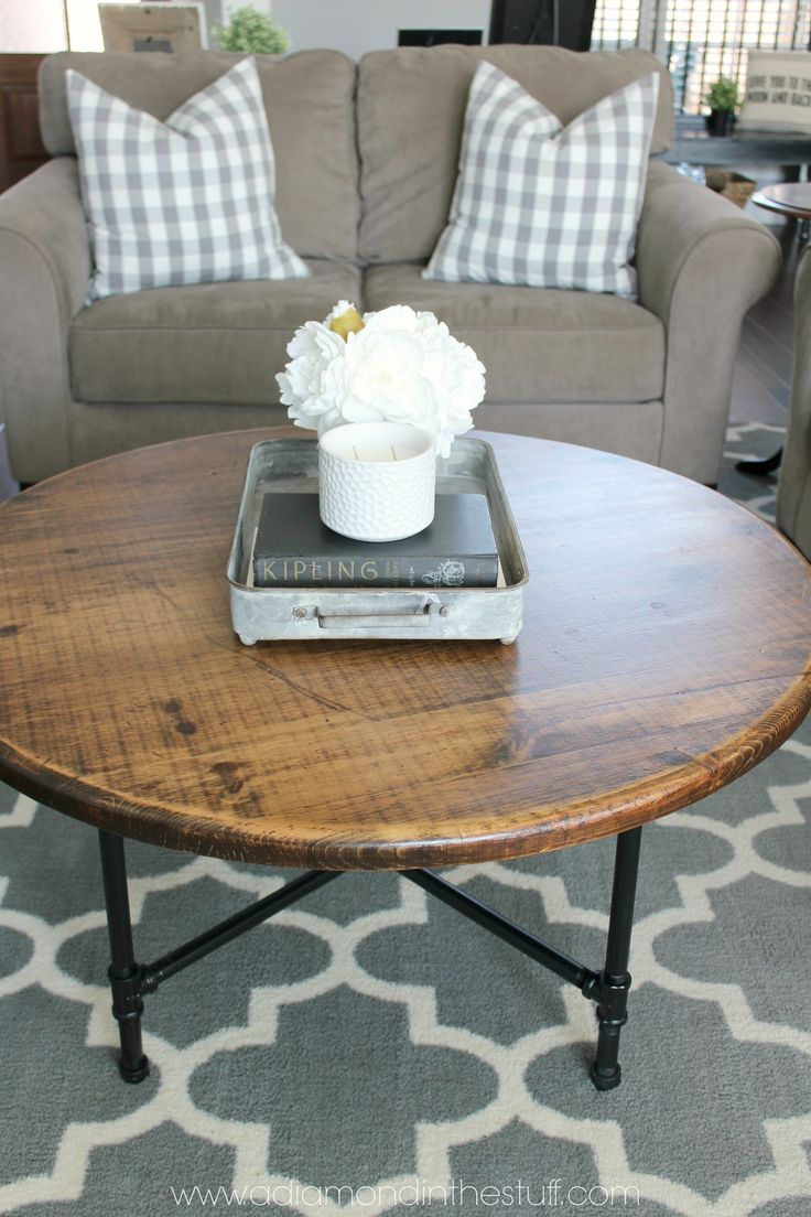 Best 25 round coffee table diy ideas on pinterest round for Industrial farmhouse coffee table
