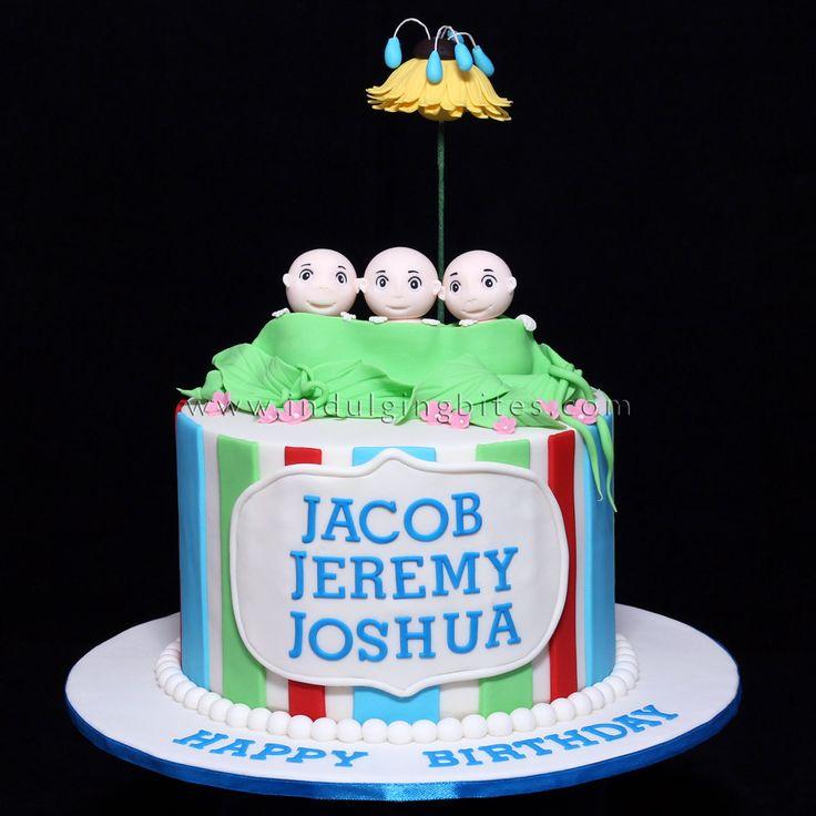 Triple Peapods Triplet Newborn Celebration Cake