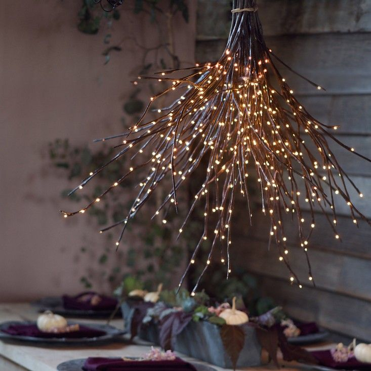DIY: A Woodsy Twig Light Holiday Inspired Chandelier
