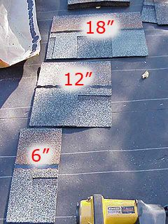 Small pieces of asphalt shingles used to start each row.
