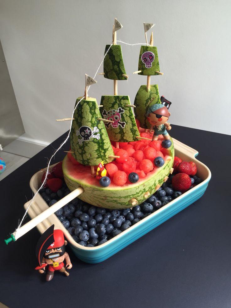 Watermelon watermelonship birthdayfruit fruit frugt vandmelon pirateship piratskib frugtskib børnefødselsdag
