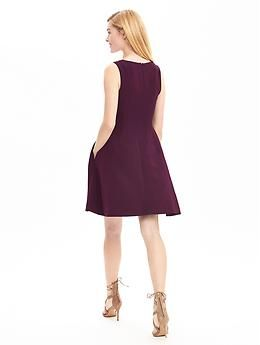 V-Neck Fit-and-Flare Dress | Banana Republic