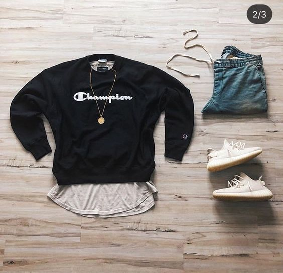 Fashion Grid Champion Sweatshirt Sweater Denim Joggers And Yeezys