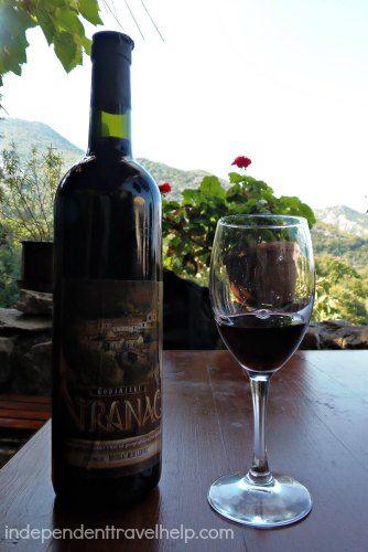 Enjoying a glass of wine in Godinje!