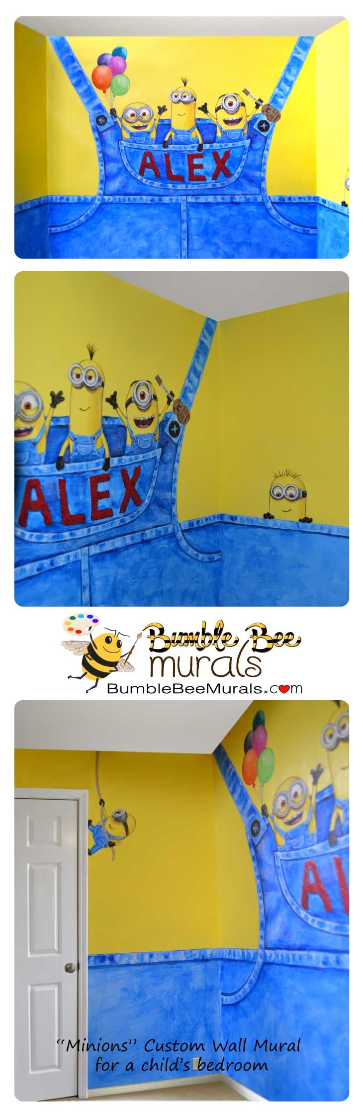 Cute Minions inspired custom wall mural hand painted for a child's bedroom.  #minionsrule #minionsmural #minionsbedroomdesign