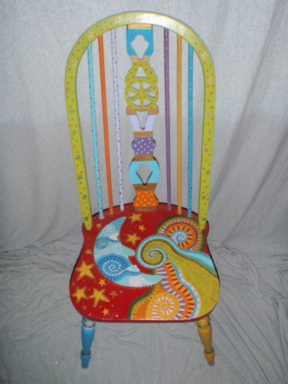 moon and stars painted chair   ... amazing colors and whimsical design make this chair really interesting