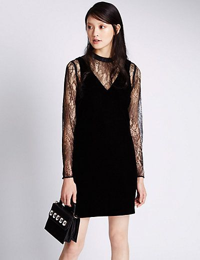 Velvet Floral Lace Shift Dress | M&S