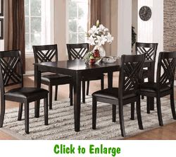Brooklyn Collection Black Dining Set Includes Table And Six Side Chairs Has Smooth Transitional Styling Great Detailing On Its