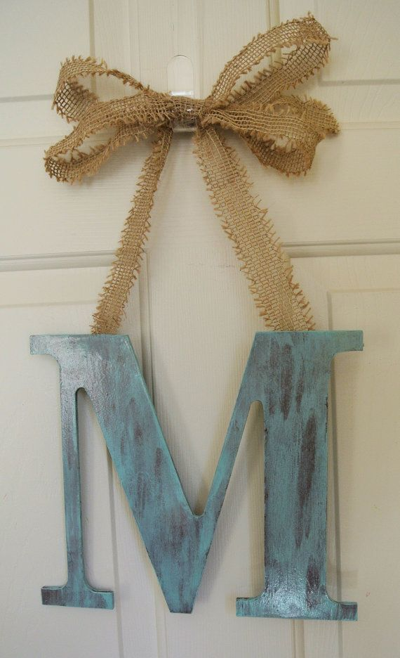 "Shabby Chic 12"" Wood Monogram Cottage Chic Home Decor Pick your color and Letter with Burlap Ribbon"