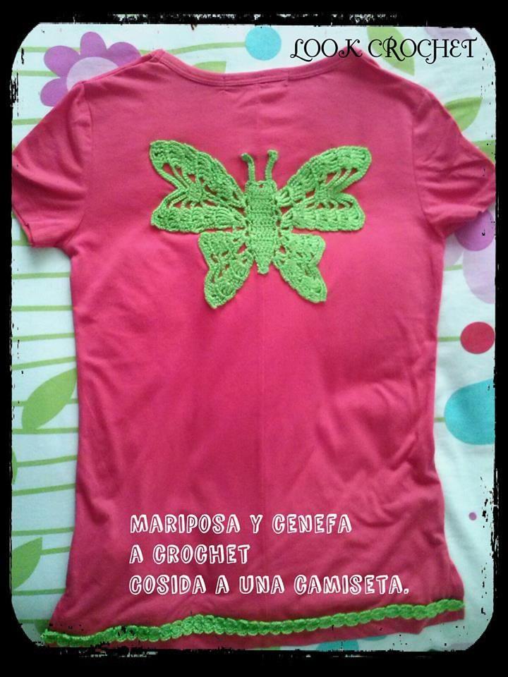 camiseta con mariposa a crochet y cenefa en el borde