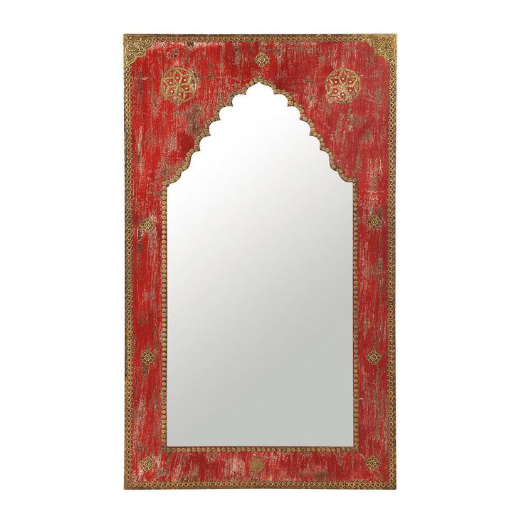 Anish carved wood mirror