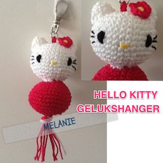 crochet, free pattern, hello Kitty, keyfob, handwerken, haken, patroontje, gratis, hello Kitty