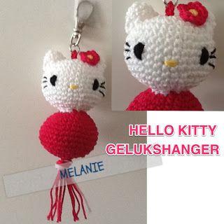 crochet, free pattern, hello Kitty, keyfob, handwerken, haken, patroontje, gratis, hello Kitty