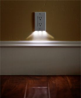 Night light that is built into the face of the outlet plate... doesn't cover any outlets, low energy.