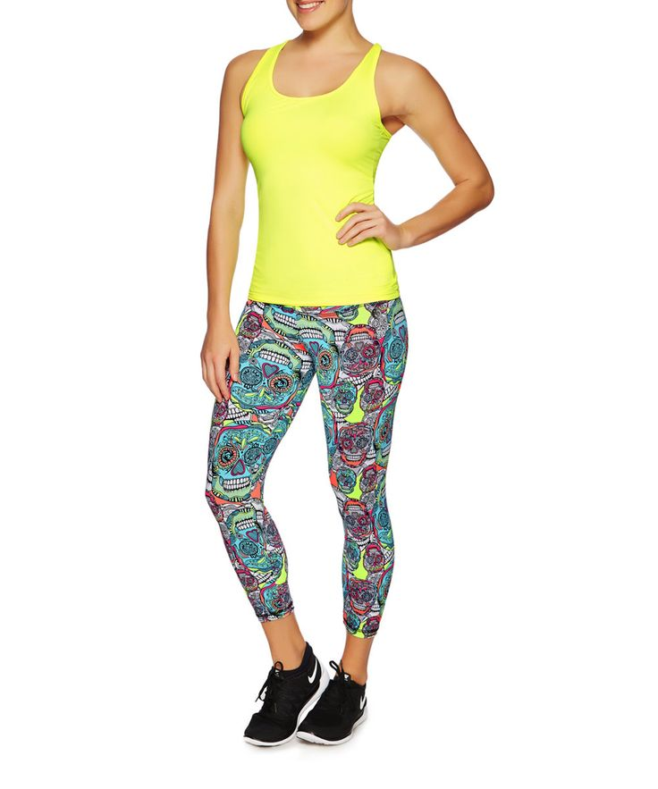 Sugar skull leggings with singlet malmo top.  Available at www.brasilfitusa.com