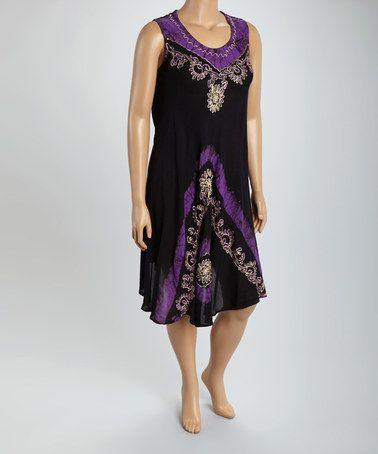 Look at this #zulilyfind! Purple Floral Embroidered Tie-Dye Dress - Plus #zulilyfinds