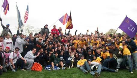 Greek Day is a large event on campus where all the fraternities and sororities compete in events to claim their title, and win the trophy of Greek Day. Notice that this image contains more then one greek organization. Our entire greek community is a comparable size to one organizations membership at another University. Greek Week & Greek Day. (2015). Retrieved from https://www.ltu.edu/student_affairs/greekweek.asp [Critique]