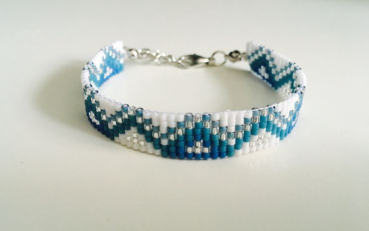 Lovely bead looming bracelet for women, Miyuki beads White/Blue/Silver- Handmade in Montreal by SamsCharmz on Etsy