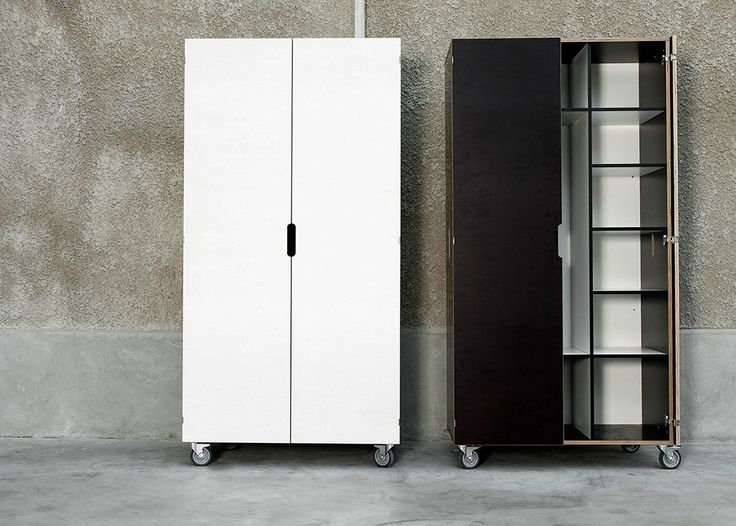 The cupboards in this collection of plywood furniture are fitted with wheels, allowing them to be moved around easily. The cupboard doors open 270 degrees.