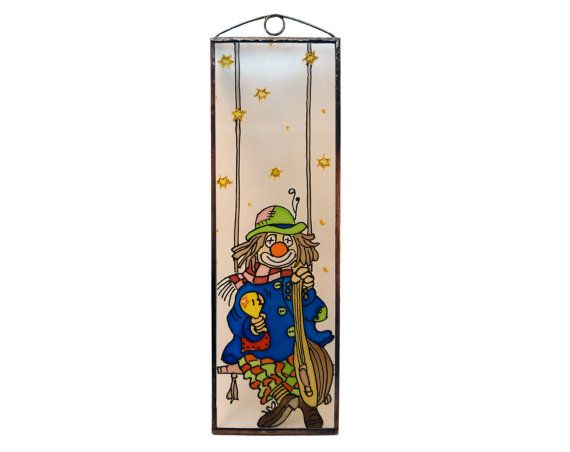 Pierrot  Painted Glass by KorosiArt on Etsy