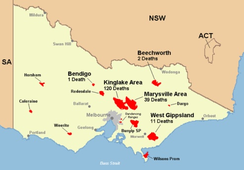 Today in Australian History -  Saturday, February 7,     2009 - Today marks the start of the horrific Black Saturday bushfires in Victoria, which eventually kill 173 and 414 were injured. Click photo for more info.