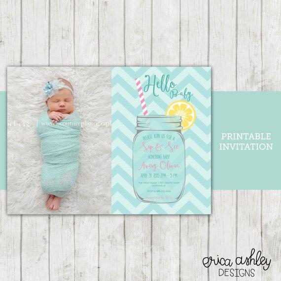 Sip and See Invitation // Mason Jar Sip & See Invitation, Sip n See Invite, Meet the Baby Invitation, Baby Shower // Digital File // 5x7