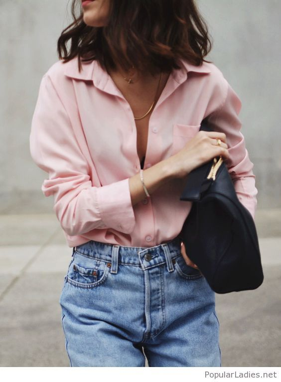 Jeans, nude shirt and black matte bag