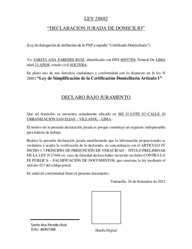 """LEY 28882 """"DECLARACION JURADA DE DOMICILIO"""" (Ley de derogación de atribución de la PNP a expedir """"Certificado Domiciliario..."""