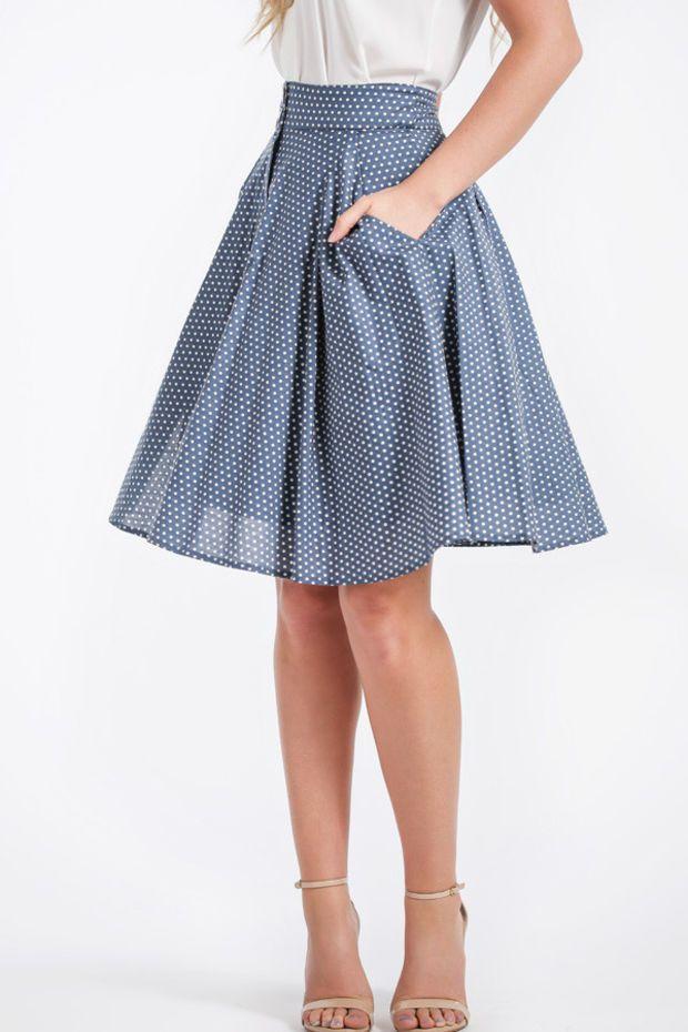 Gabbi High Waisted Blue Polka Dot Midi Skirt